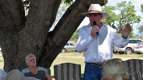 Capricornia MP Michelle Landry listening to Deputy Prime Minister and Federal Agriculture Minister Barnaby Joyce address a crowd of 30 graziers and business owners at Stanage Bay property 'Couti Outi' on February 3, 2017.