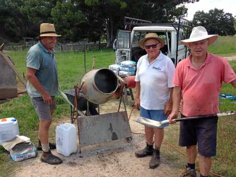 John Maxwell, Stan Pitkin, Ken Ellem, Bradley and John McLennan and Mitch Pitkin restore their family graves on a property in Upper Kangaroo Creek.