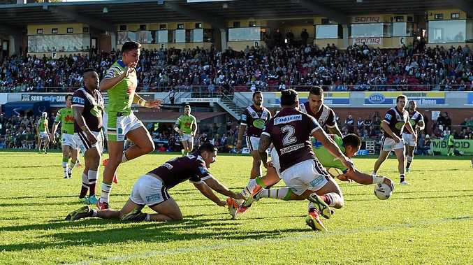 Manly and Canberra battle it out at Brookvale Oval last year.