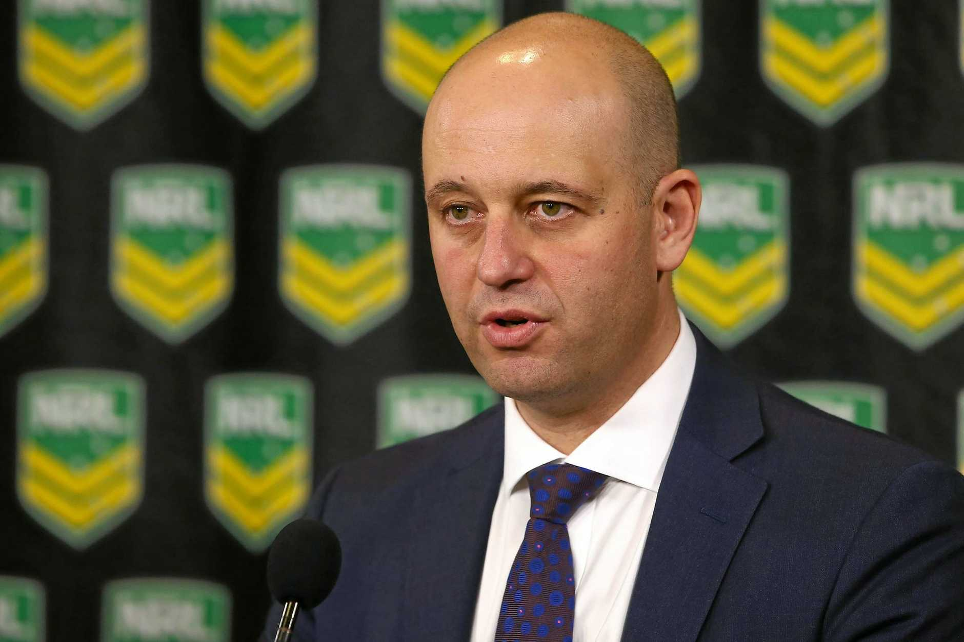 NRL chief executive Todd Greenberg speaks to the media