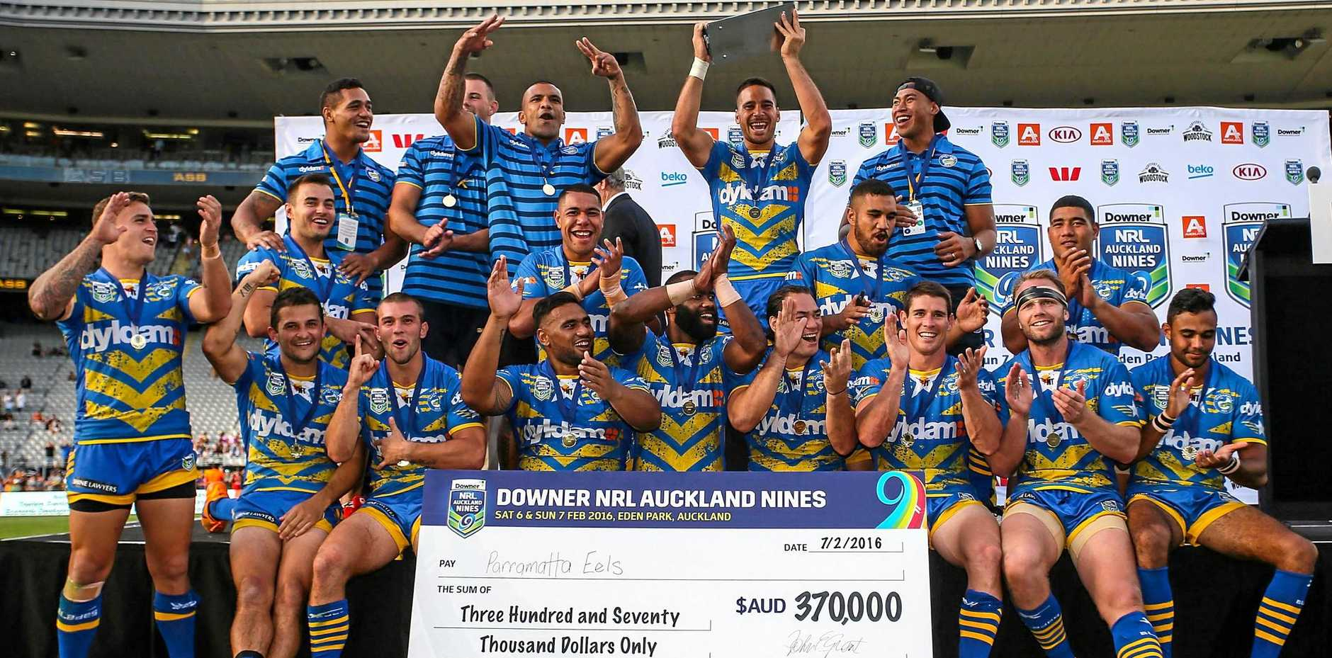 Parramatta Eels players celebrate after winning the 2016 Auckland Nines.