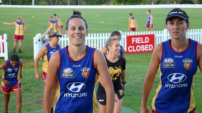 LEADER: Brisbane Lions captain Emma Zielke (left) after training.