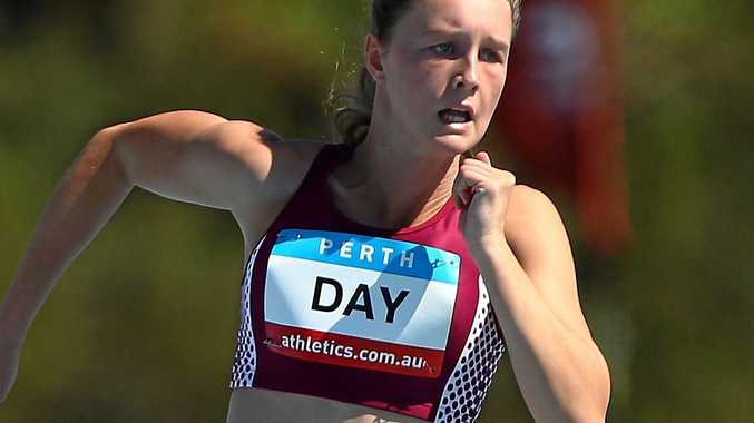 Riley Day of Queensland competes in the under-17 girls' 200m heat during the Australian Junior Athletics Championships in Perth in March last year.