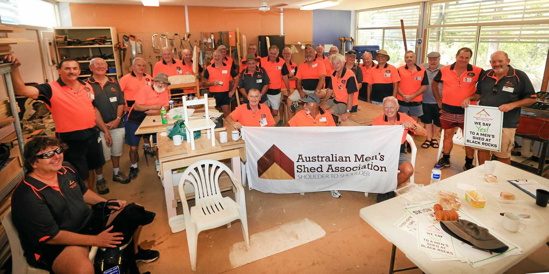 Pottsville Mens Shed members squashed into their current premises at the Pottsville Primary School.