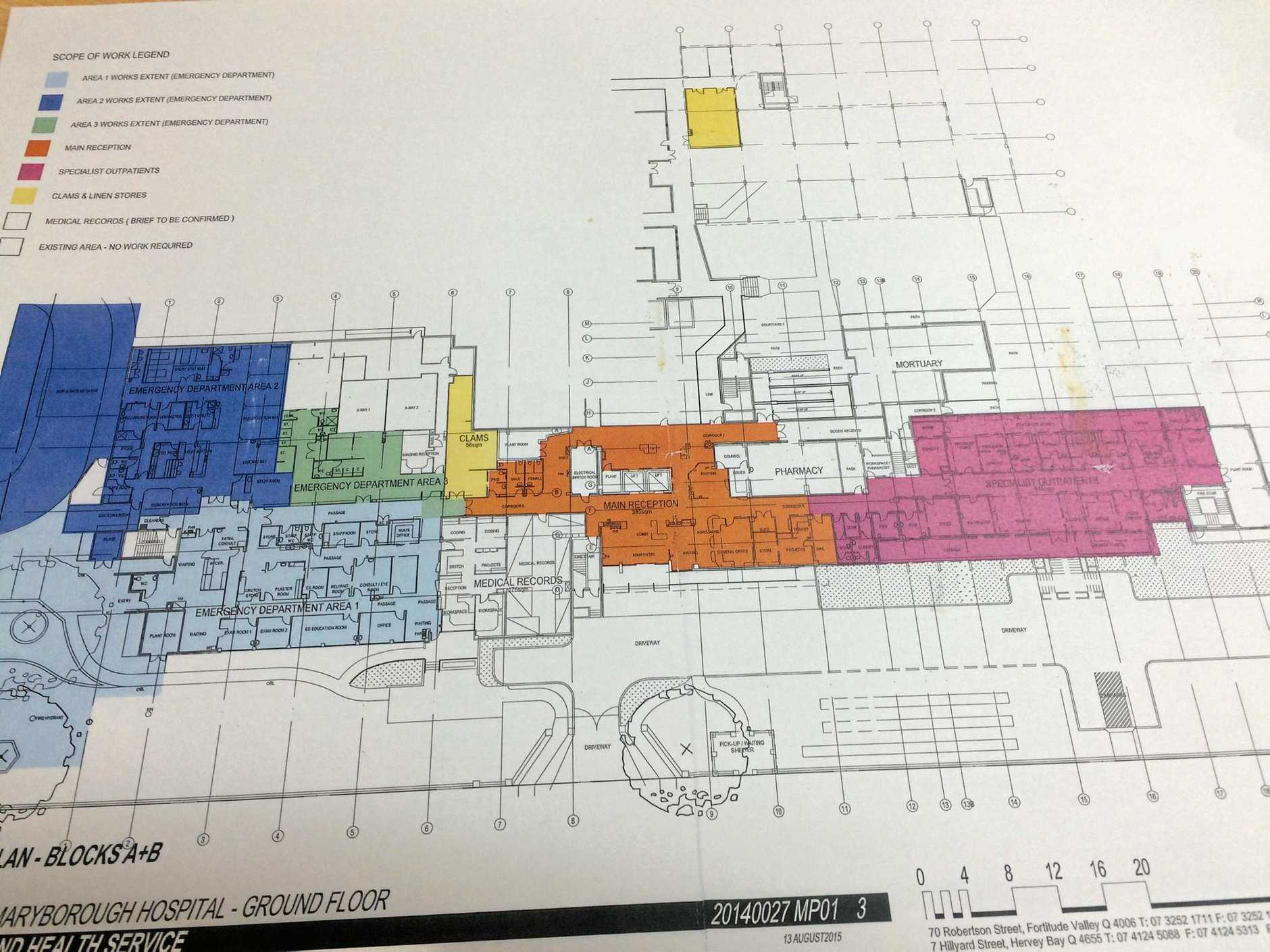 Draft plans for the proposed Maryborough Hospital revamp, as revealed by Maryborough MP Bruce Saunders.