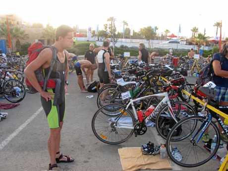 ON YA BIKE: Triathlon training is on today.