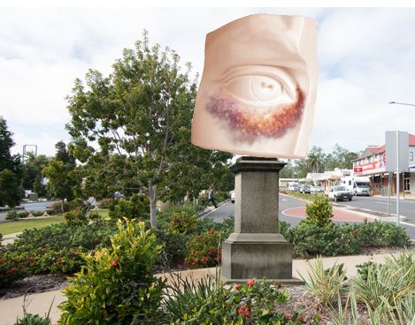 A photo apparently showing Bundaberg with a bad photoshop job showing what the Batooda Advocate calls the Big Black Eye.