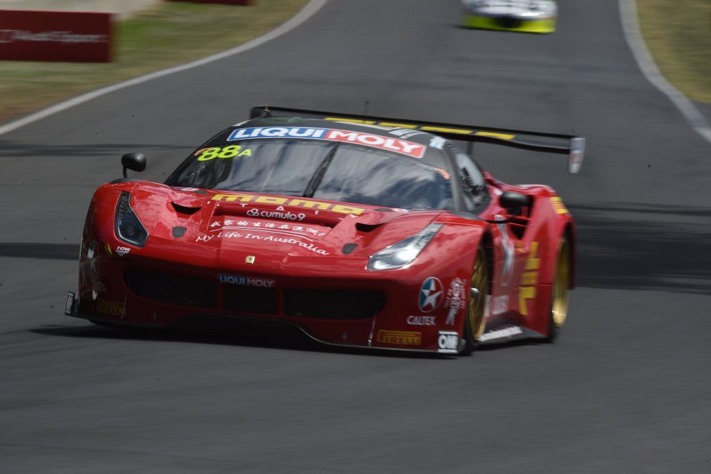 RED DEVIL: Maranello Motorsport Ferrari 488 GT3 piloted by flying Finn Toni Vilander goes fastest in the Top 10 Shootout at Mount Panorama