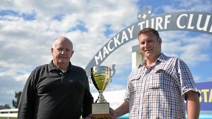 Mackay Turf Club chairman Lou Kinsey with chief executive officer Ryan Van de Velde in July.