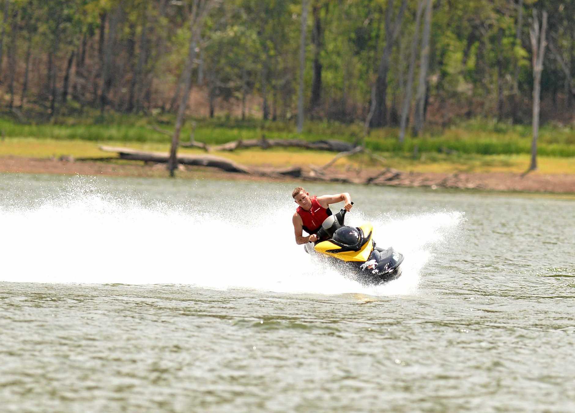 Brett Paulger on his jet ski at Borumba dam.
