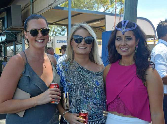 BIG DAY OUT: Hannah Frawley, Dom Tully and Jacquie Borham looking glamorous at the Dalby Diehards Race Day.