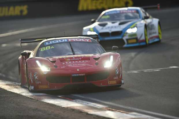 CLOSE SECOND: Ferrari 488 GT3 has led for much of the 2017 Bathurst 12 Hour