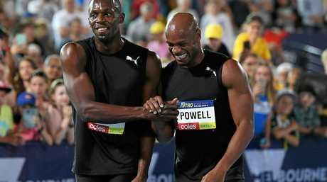 Jamaican sprinters Usain Bolt (left) and Asafa Powell of the Bolt All-Stars