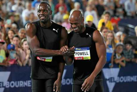 Jamaican sprinters Usain Bolt (left) and Asafa Powell of the Bolt All-Stars