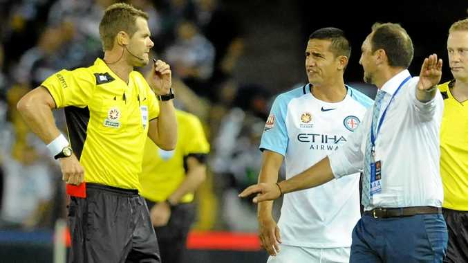 Tim Cahill is given a red card before even being substituted on to the field during the Melbourne derby.