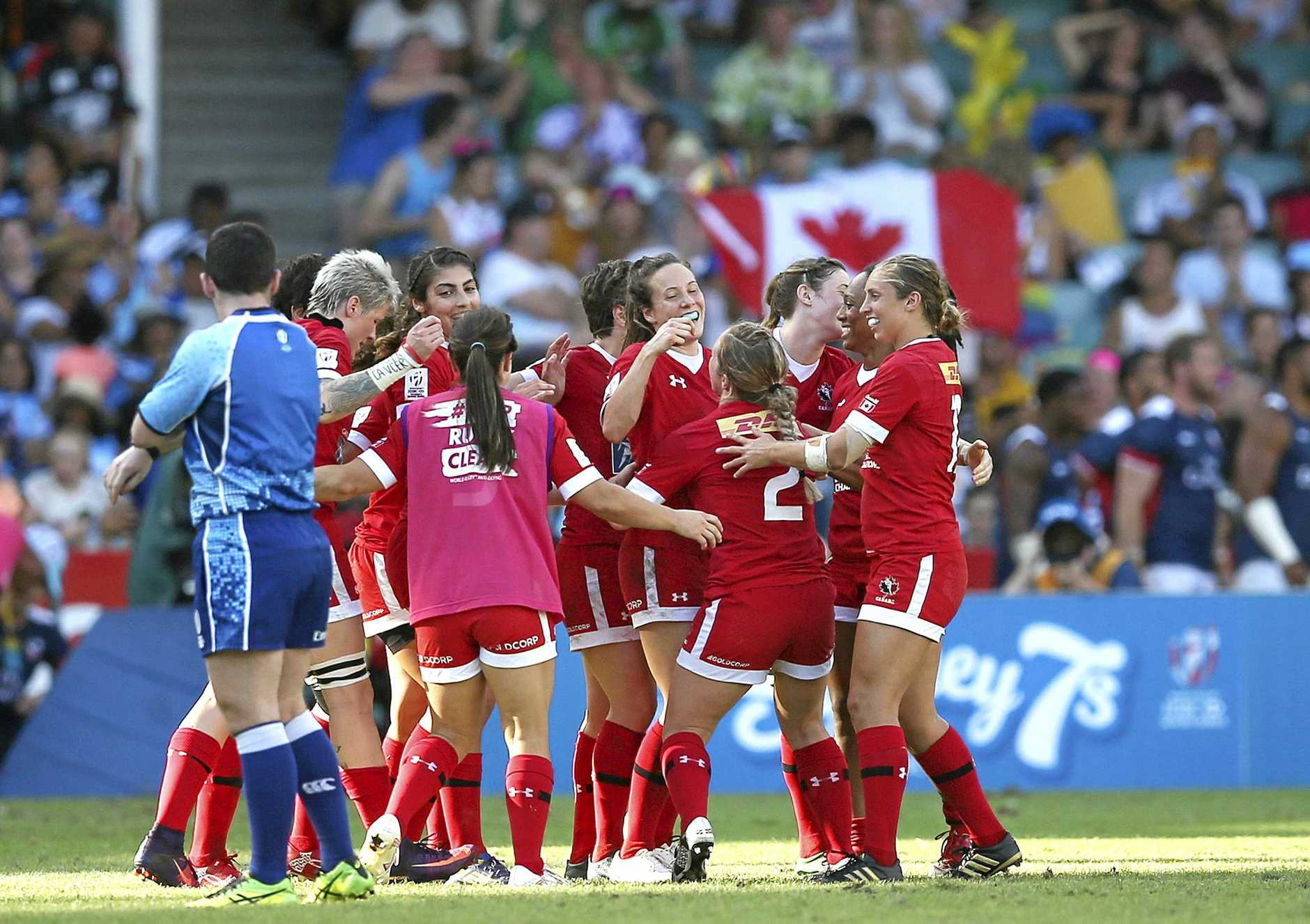 Canadian players celebrate their win over United States in the women's final