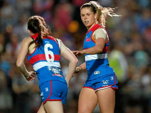 Katie Brennan (right) and Kirsten McLeod of the Bulldogs during the AFLW clash against the Dockers at Whitten Oval.