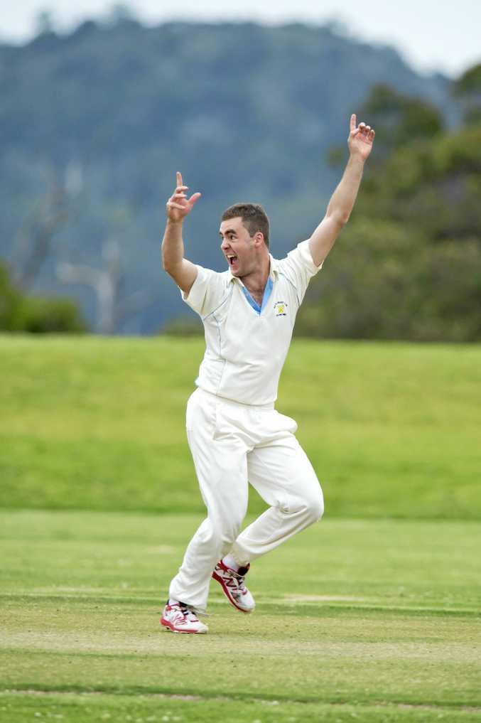 Wests bowler Shaun McCarthy celebrates getting Dean Sullivan of University out in Toowoomba Cricket Harding-Masden Shield at USQ oval, Saturday, October 22, 2016.
