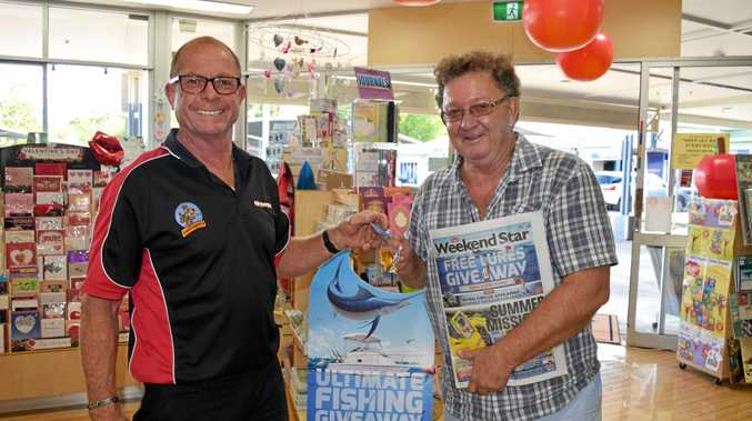 Goonellabah News Agency general manager Peter Witten with loyal reader Michael Condon.