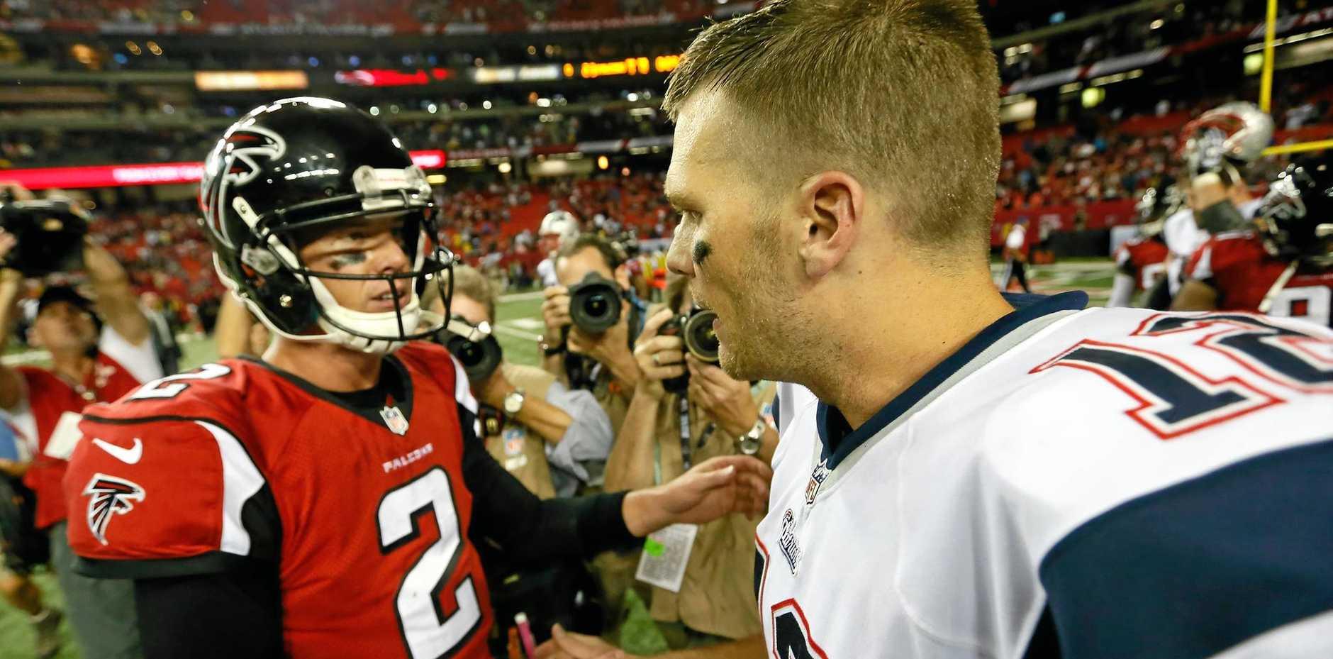 Tom Brady of the New England Patriots (right) and Matt Ryan of the Atlanta Falcons.