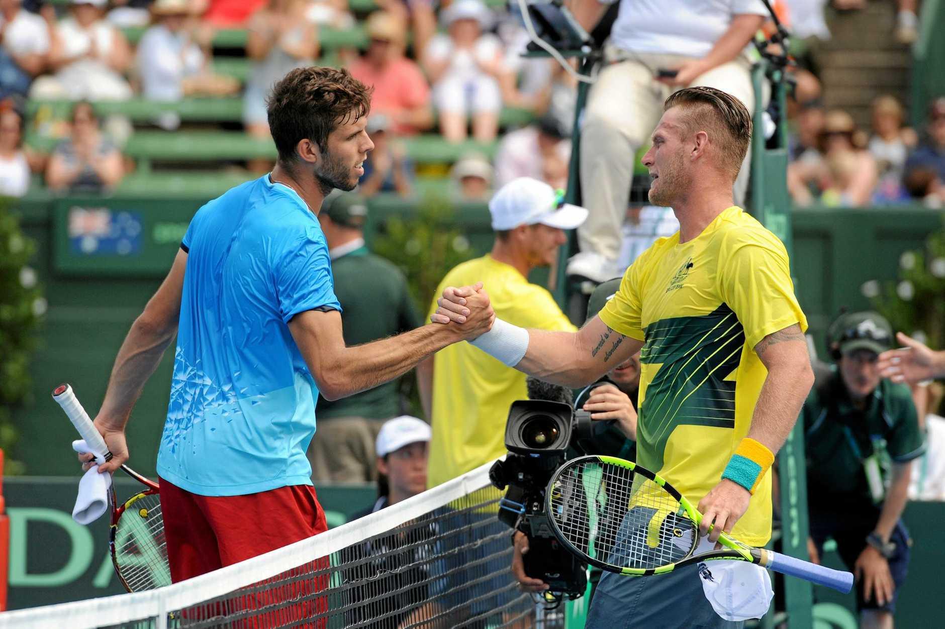 Jiri Vesely of the Czech Republic celebrates his win over Sam Groth of Australia in the Davis Cup.