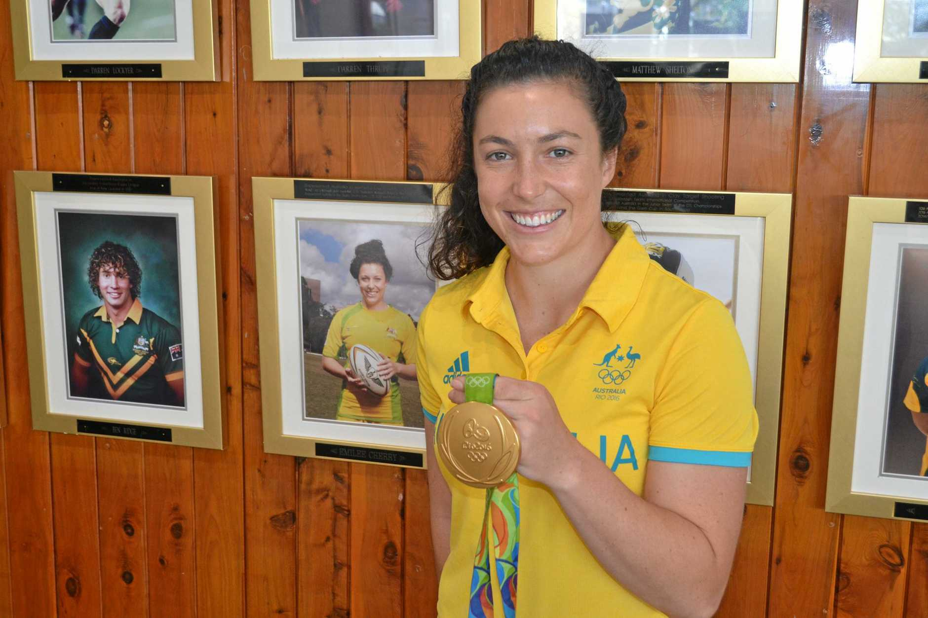 SEVENS STAR: Emilee Cherry with her Olympic Games gold medal.