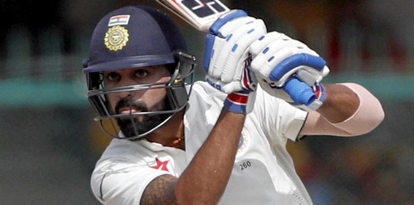 India's Murali Vijay plays a shot.