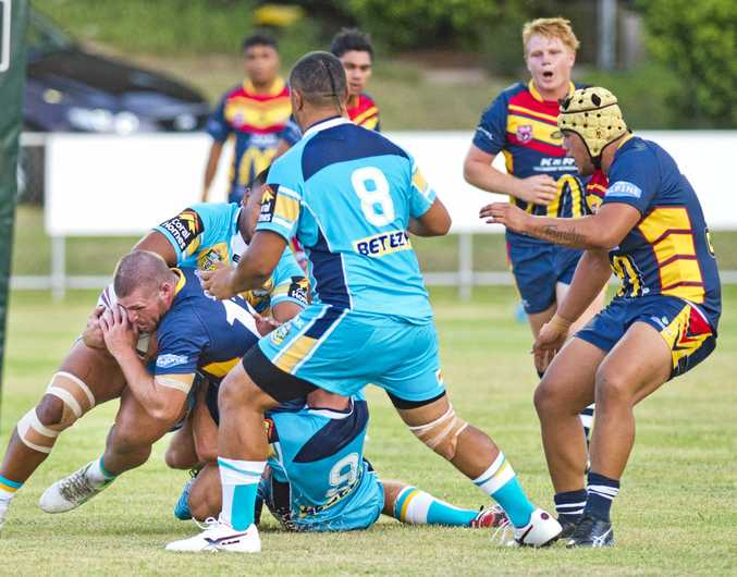 IN ACTION: Western Mustangs lock Tom Boland plays against the Gold Coast Titans under 20s last week.