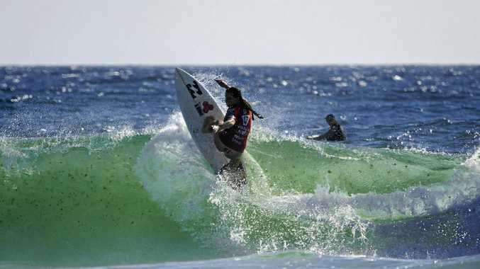 Stephanie Single on her way to reaching the final of the Tweed Coast Pro at Cabarita.