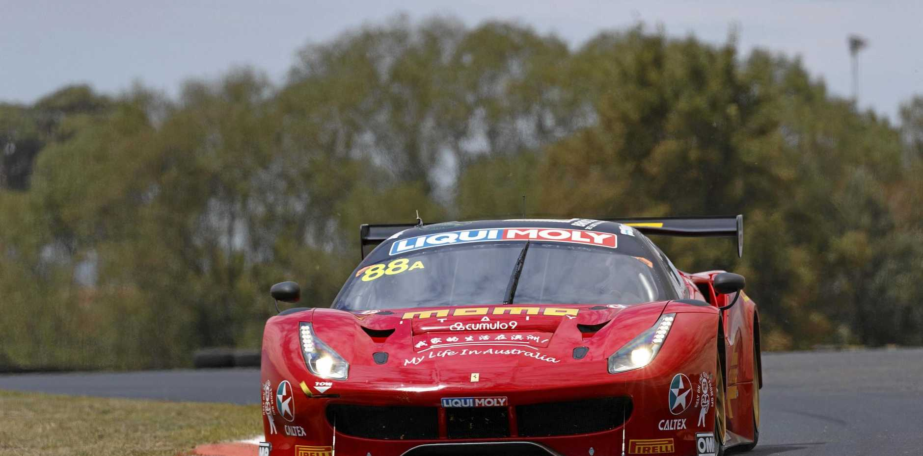 The Maranello Motorsport Ferrari 488 GT3 of drivers Toni Vilander of Finland and Jamie Whincup and Craig Lowndes of Australia.