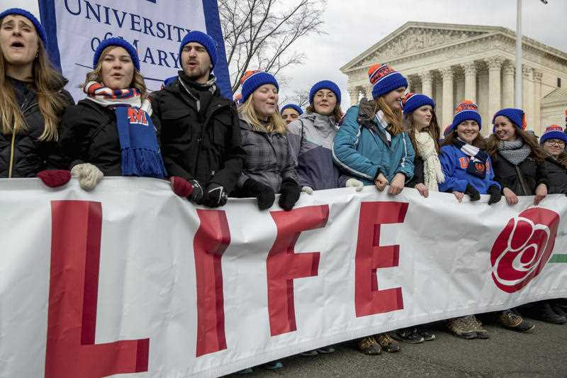 Anti-abortion activists march past the Supreme Court in Washington, Friday, Jan. 27, 2017, during the annual March for Life.