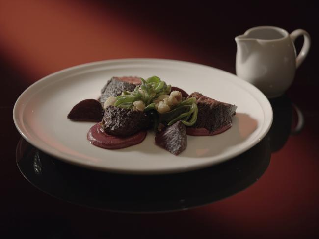 The main course by Tim and Kyle was spiced kangaroo with beetroot and walnut puree and weed salad.