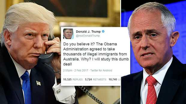Donald Trump's controversial Twitter post about the refugee deal Obama struck with Australia.