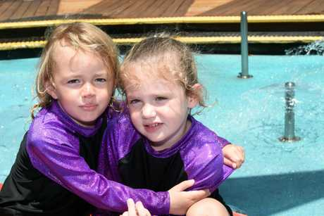 Bundaberg Multiple Births Association - Ten sets of twins and their families enjoyed a day at Wetside, Hervey Bay. Zoe and Mia Barnes.