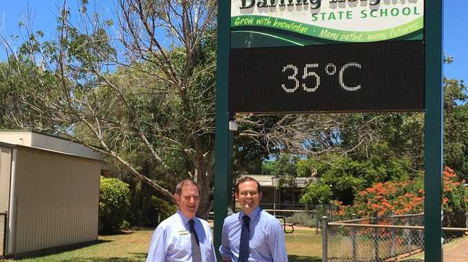 Darling Heights State School principal Mark Creedon and Member for Toowoomba South David Janetzki talk about heat at the school.