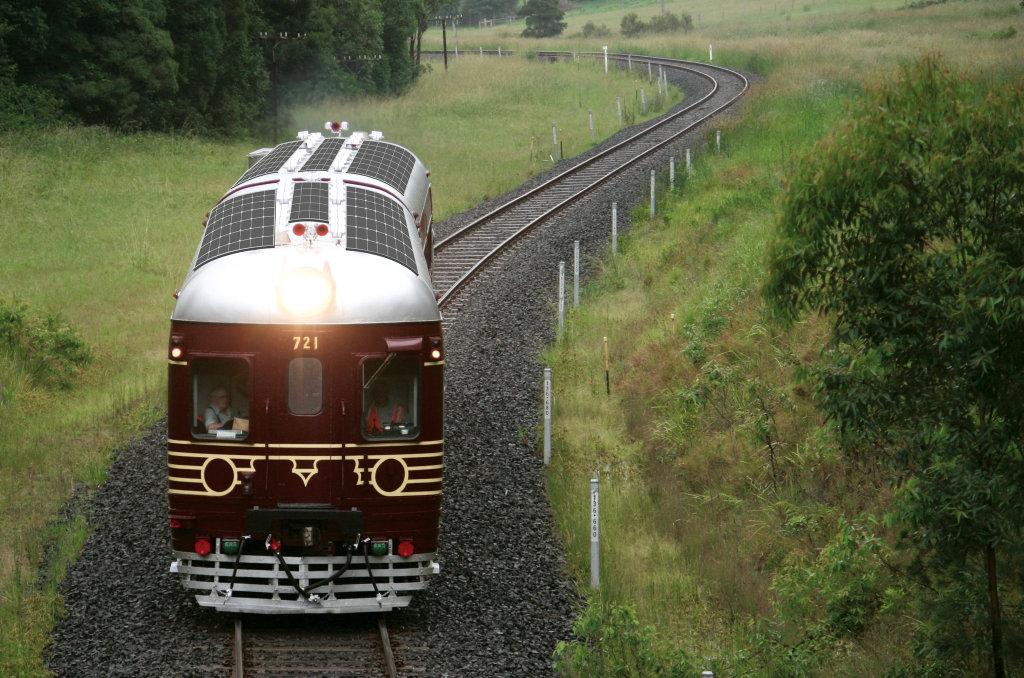 An artist impression of a Byron Bay Railroad Company solar train.
