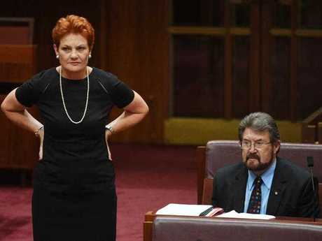 One Nation leader Senator Pauline Hanson and Justice Party Senator Derryn Hinch during the Registered Organisations Bill vote in the Senate at Parliament Hose in Canberra, Monday, Nov. 21, 2016.