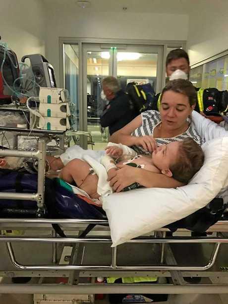 Eli Fapani in the Townsville Base Hospital.