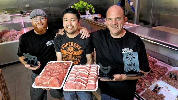 YUM: Matt England (left) and Daniel White (right) from Country Boys Barbeque recently won awards at the Mooloolaba BBQ Festival. They get their meat from Wayne Pham at Duys Quality Meats at Inala Civic Centre.