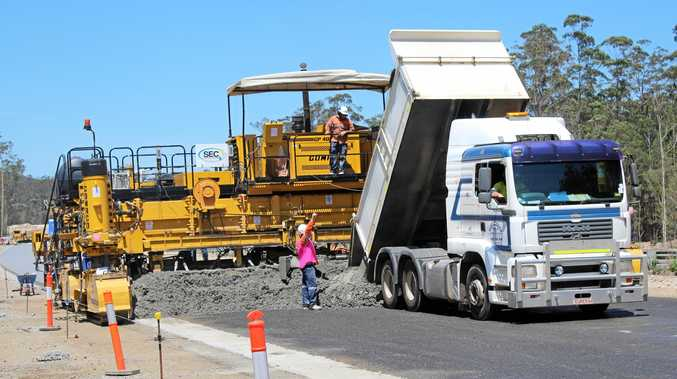 HOT WORK: Construction on the Pacific Hwy between Nambucca and Urunga.