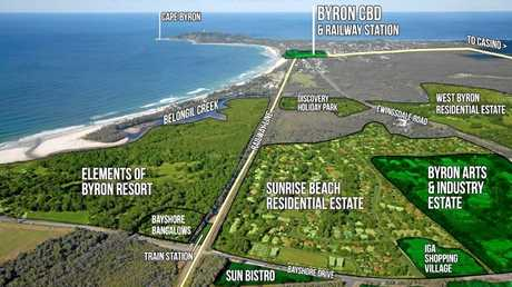 Map that the train takes at Byron Bay.