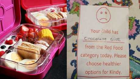 A mother-of-eight who baked and packed a chocolate slice for her child at school has been given a warning not to do it again.