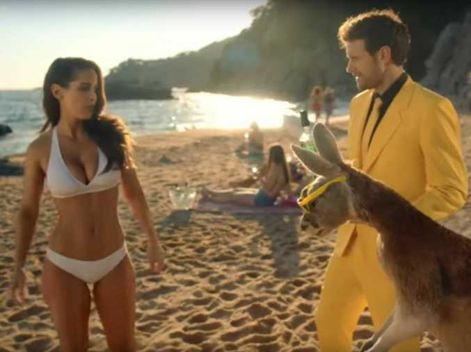 Yellow Tail Wine's advert includes a rather animated kangaroo.