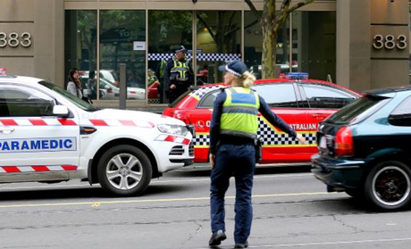 The scene of an alleged shooting outside the Australian Federal Police building. Picture: Tim CarrafaSource:News Corp Australia