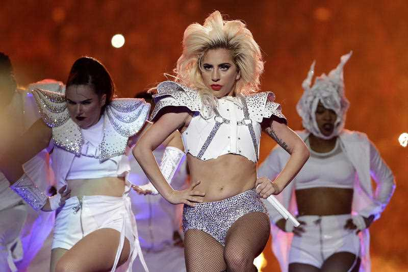Lady Gaga performsduring the halftime show of the NFL Super Bowl 51 football game between the New England Patriots and the Atlanta Falcons  (AP Photo/Matt Slocum)