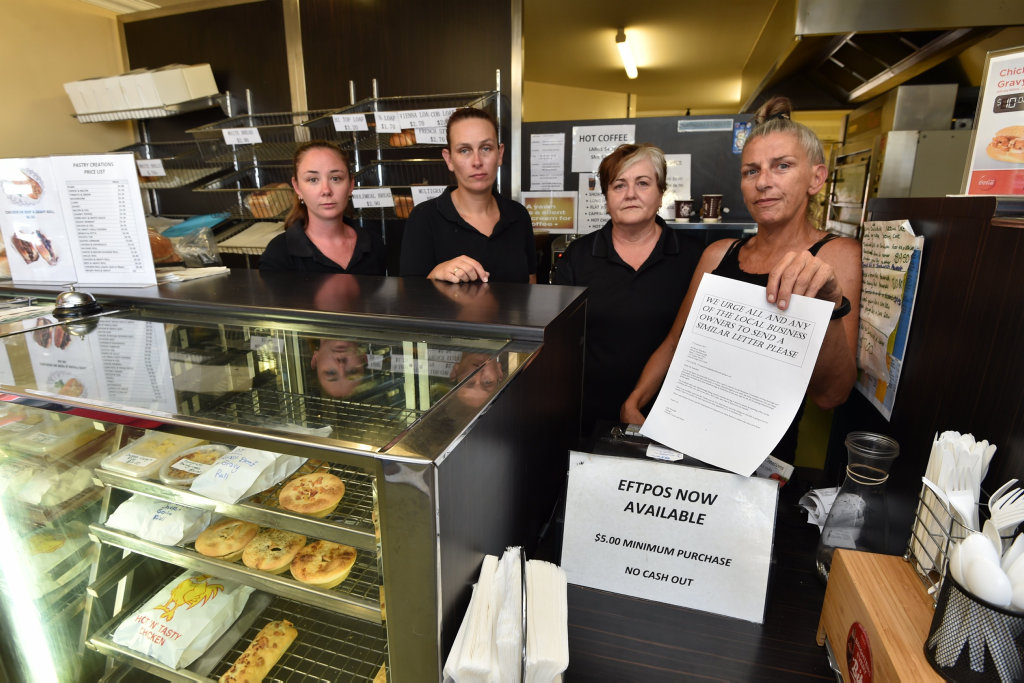 Westside Shopping Village at Tinana - (L) Rebbequa O'Connor, Shannon Cozens, Alayne Bygrave and Tracy Riley from Pastry Creations. Doing it tough due to roadworks closing the entrance to the Bruce Highway at Tinana.