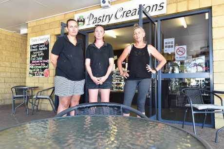 Westside Shopping Village at Tinana - (L) Shannon Cozens, Rebbequa O'Connor and Tracy Riley from Pastry Creations. Doing it tough due to roadworks closing the entrance to the Bruce Highway at Tinana.