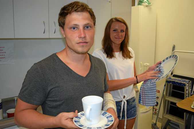 Dutch backpackers Jordy Karlas and Karolina Korczak are finding it tough to secure consistent work in Noosa while on their working holiday.