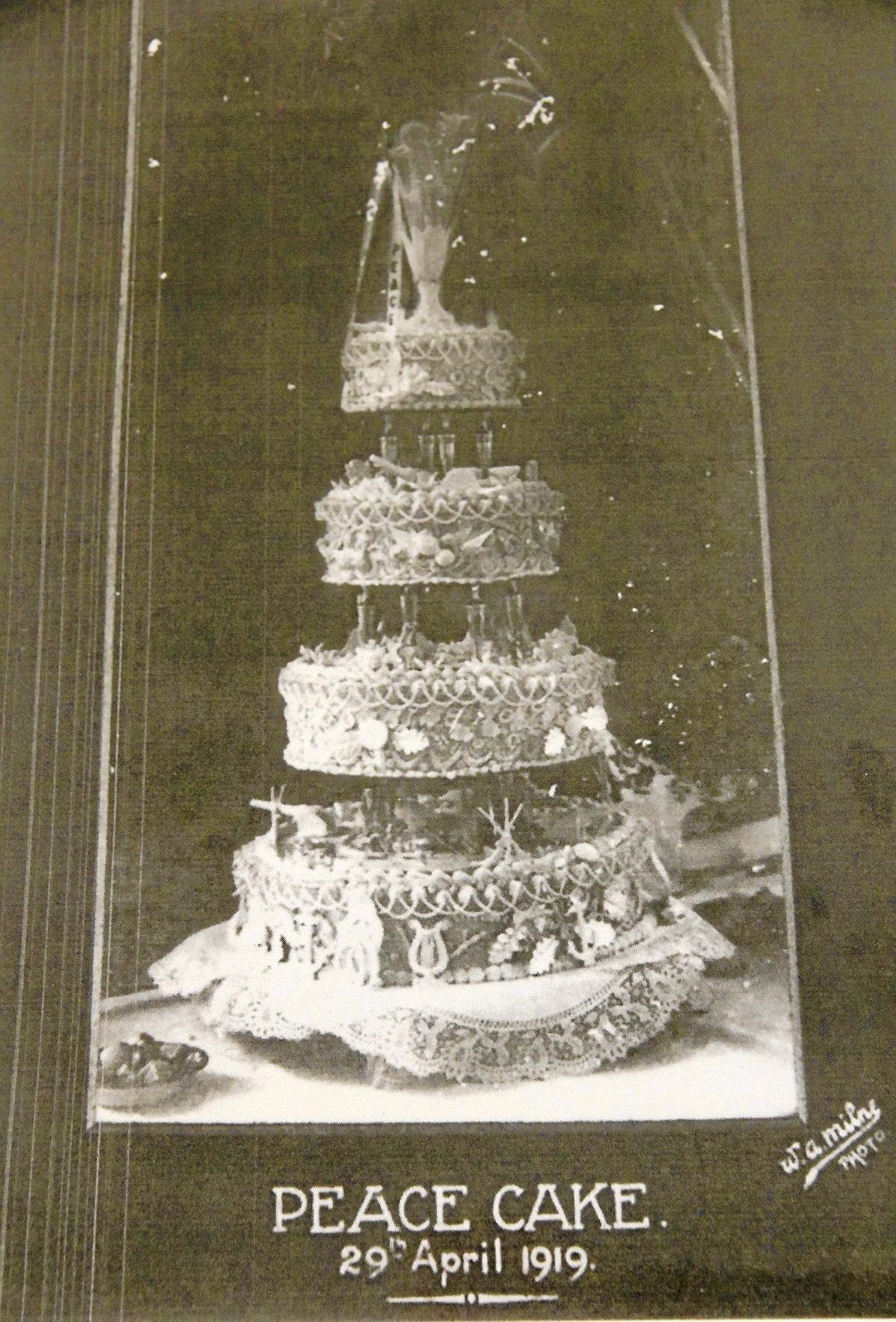 HISTORIC: The original Peace Cake  in 1919.
