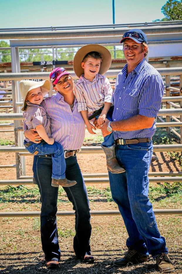 READY FOR ACTION: Melissa, Hastings and sons Cobi and Zach Hawkins from the Clermont Cattle Sale.